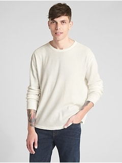 Long Sleeve Classic T Shirt In Waffle Knit