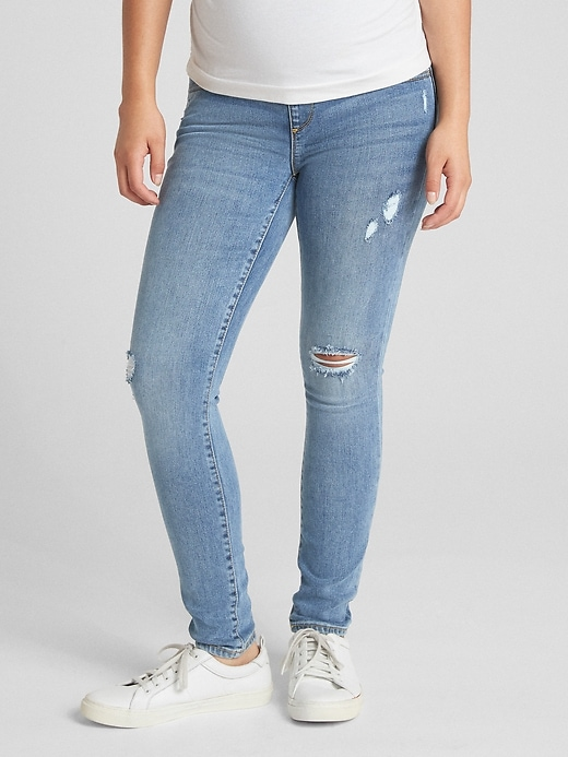 Maternity Soft Wear Full Panel True Skinny Jeans in Distressed