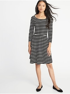 6374b6ae7a Fit   Flare 3 4-Sleeve Jersey Dress for Women