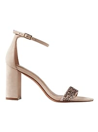 Bare High Block-Heel Glitter Sandal