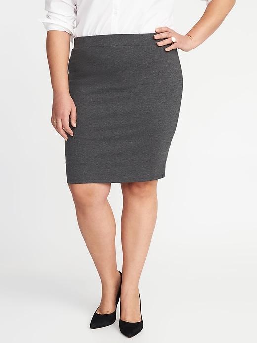 Secret-Slim Ponte-Knit Plus-Size Pencil Skirt