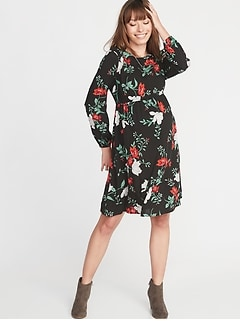 Maternity Floral Waist Defined Dress