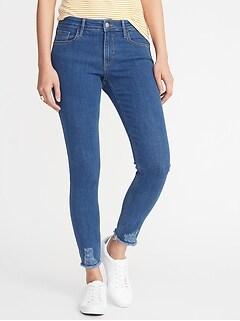 Mid-Rise Rockstar Super Skinny Distressed Raw-Edge Jeans for Women