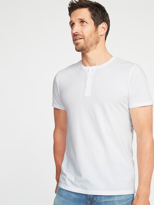 Soft-Washed Jersey Henley for Men