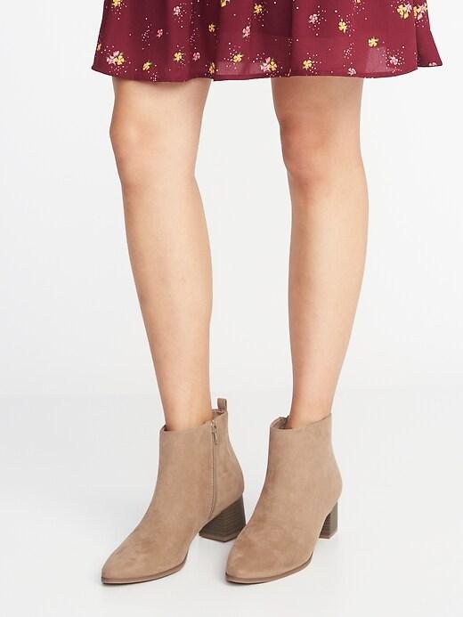 Faux-Suede Block-Heel Booties for Women