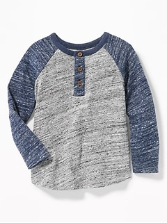 Color Blocked Sweater Knit Henley For Toddler Boys