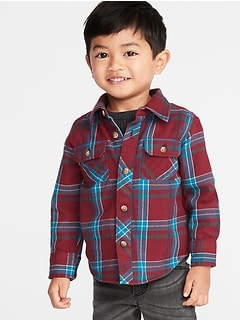 plaid flannel utility shirt for toddler boys