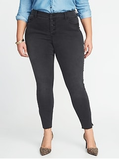 ded60a2d113a2 High-Rise Secret-Slim Pockets Plus-Size Raw-Edge Rockstar Jeans