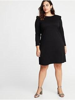 Plus-Size Ruffle-Trim Ponte-Knit Shift Dress 493508497