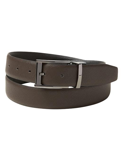 Vegan Leather Textured Dress Reversible Belt