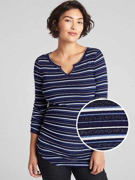 Maternity Ribbed Long Sleeve Notch-Neck T-Shirt