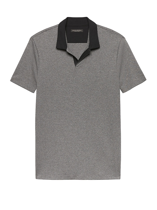 Luxury-Touch Contrast Johnny Collar Polo