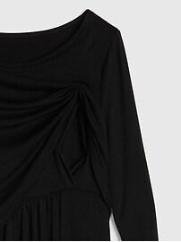 Maternity Long Sleeve Layered Nursing Dress