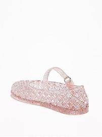 Basket-Weave Jelly Ballet Flats For Toddler Girls