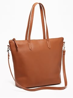 Faux Leather Zip Top Tote For Women