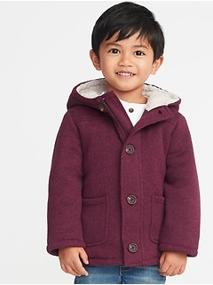 bc6687a17990 Button-Front Sweater-Fleece Hooded Coat for Toddler Boys