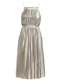 Petite Silver Pleated Fit-and-Flare Dress