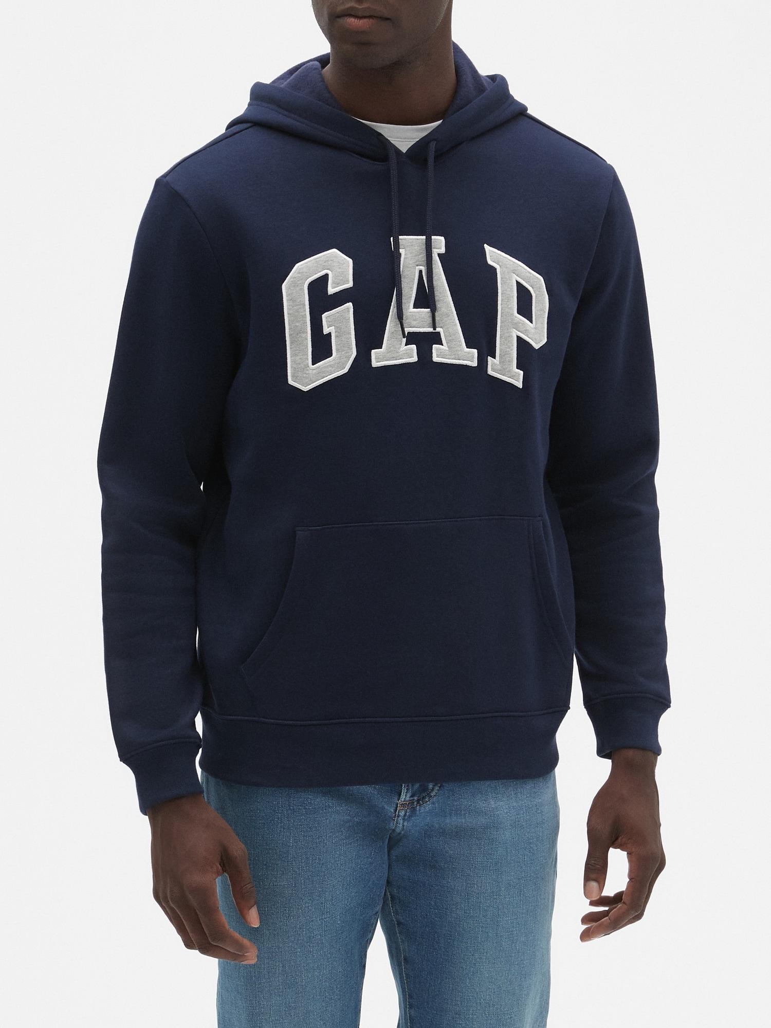 Navy Blue, S GAP Mens Fleece Arch Logo Pullover Hoodie