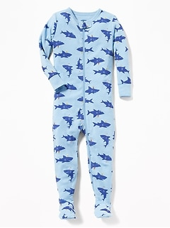 2633184b2 Shark-Print Footed Sleeper For Toddler & Baby