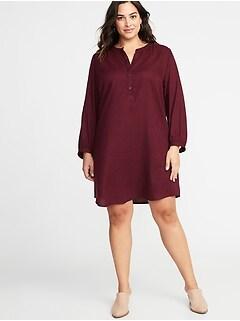 8ecd4997419 Twill Tie-Cuff Plus-Size Shirt Dress
