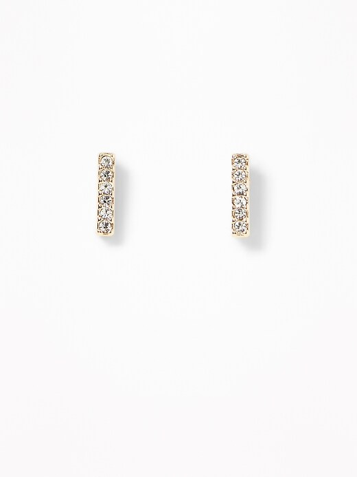 Pavé Rhinestone Bar Stud Earrings For Women