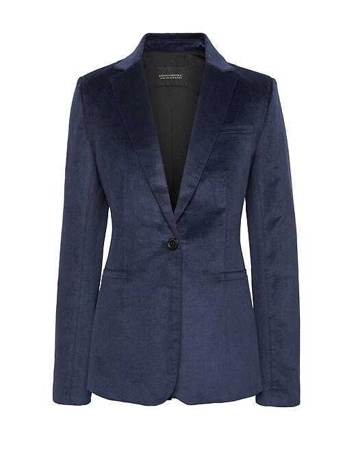 Long and Lean-Fit Solid Velvet Blazer