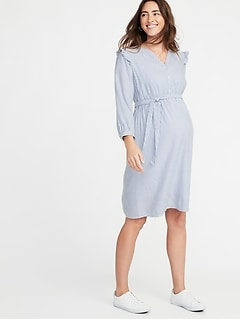 73a31842aae Maternity Ruffle-Shoulder Tie-Belt Shirt Dress