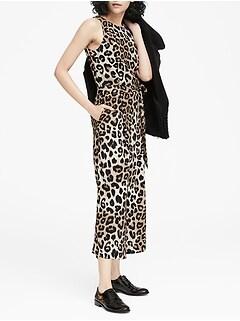 Leopard Print Cropped Wide-Leg Jumpsuit