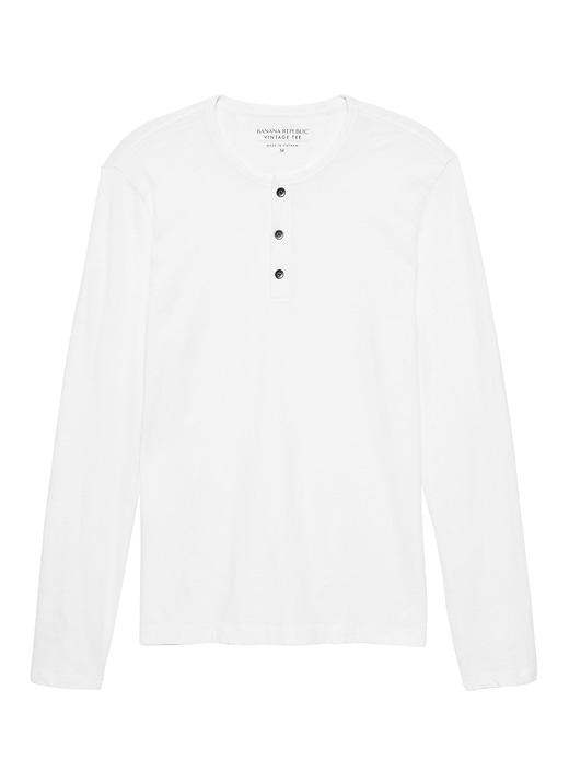 Vintage 100% Cotton Long-Sleeve Henley T-Shirt