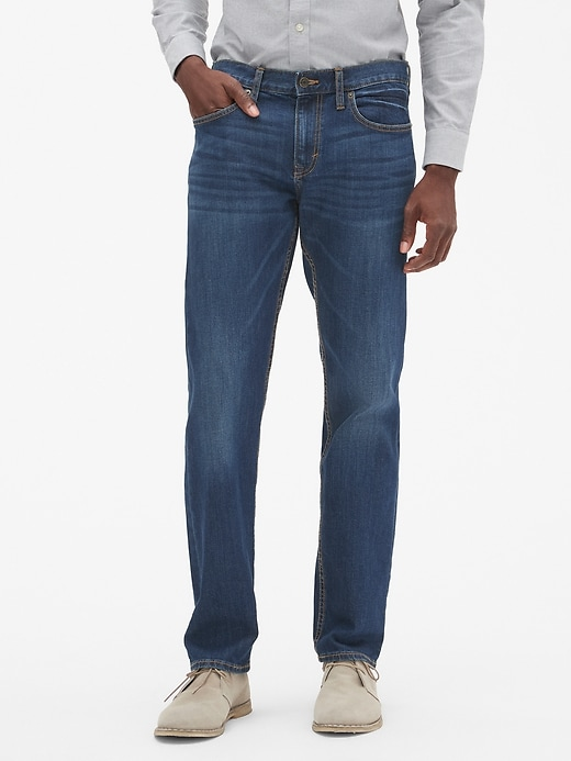 Straight-Fit Stretch Medium-Wash Jean