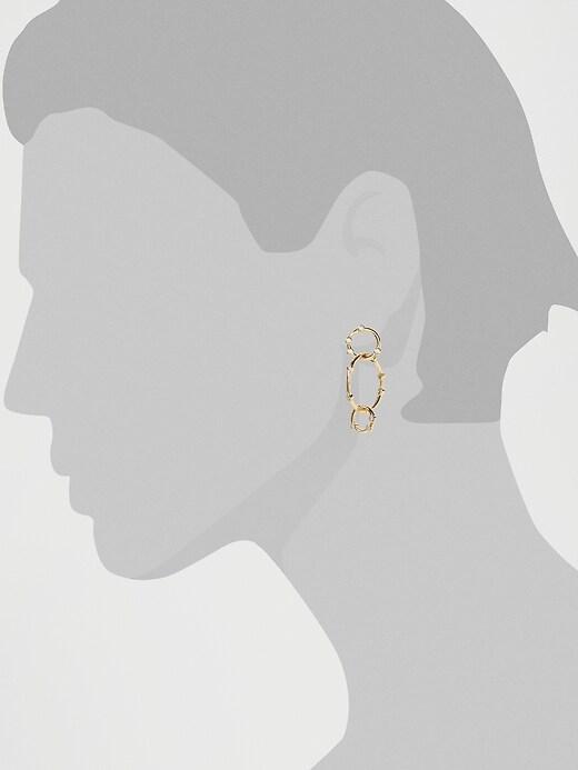 Pave Circle Link Drop Earrings