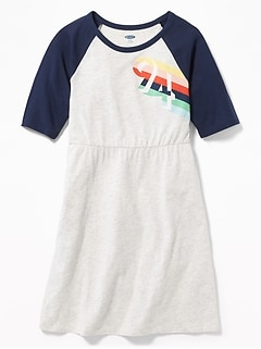 6a65230a5a6e Graphic Raglan-Sleeve Fit   Flare Dress for Girls
