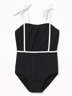 9ae54e6096 Retro Tie-Shoulder Swimsuit for Girls