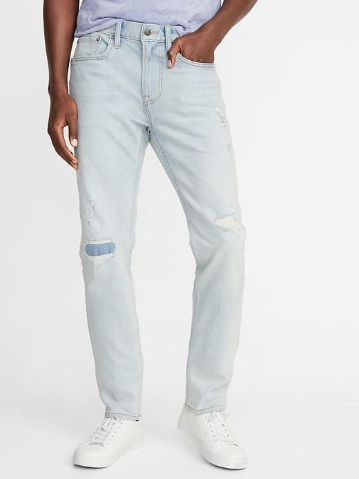 Slim Built-In Flex Distressed Jeans For Men