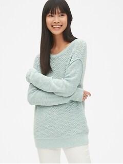 c1882319f6 Textured Mix-Knit Crewneck Pullover Sweater