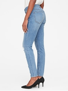a599730ef98 Mid Rise Curvy True Skinny Jeans with Distressed Detail