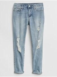 Mid Rise Destructed Sexy Boyfriend Fit Jeans