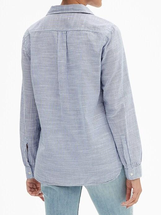 Long-Sleeve Stripe Popover Shirt