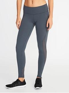 41b4b16cea25 Mid-Rise Elevate Side-Pocket Mesh-Trim Compression Leggings for Women