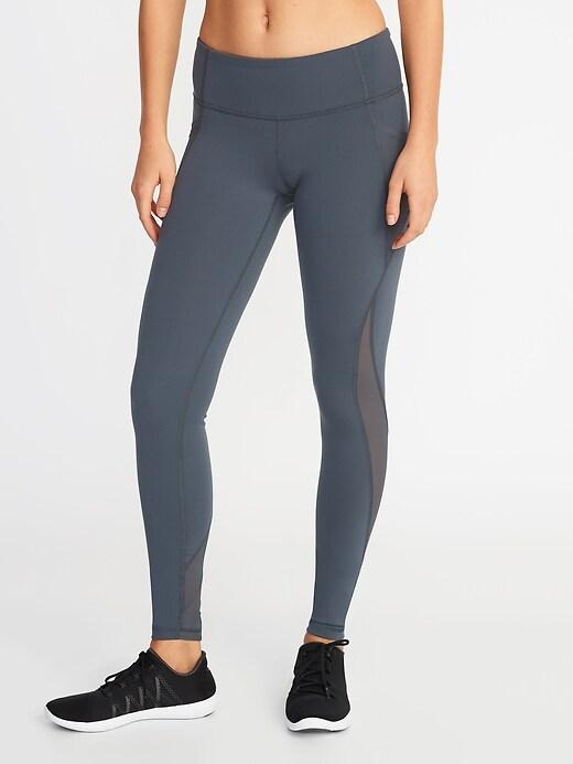 Mid-Rise Elevate Side-Pocket Mesh-Trim Compression Leggings for Women