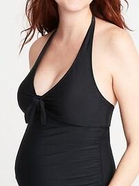 Maternity Halter V-Neck One-Piece Swimsuit