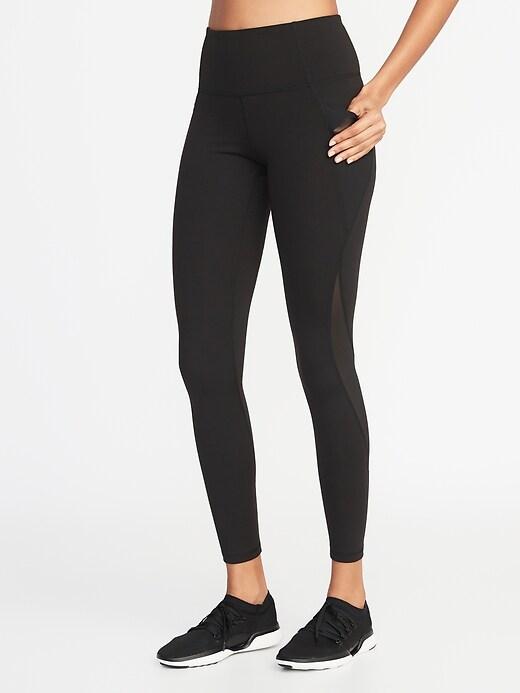 High-Waisted Elevate Side-Pocket Mesh-Trim Compression Leggings For Women