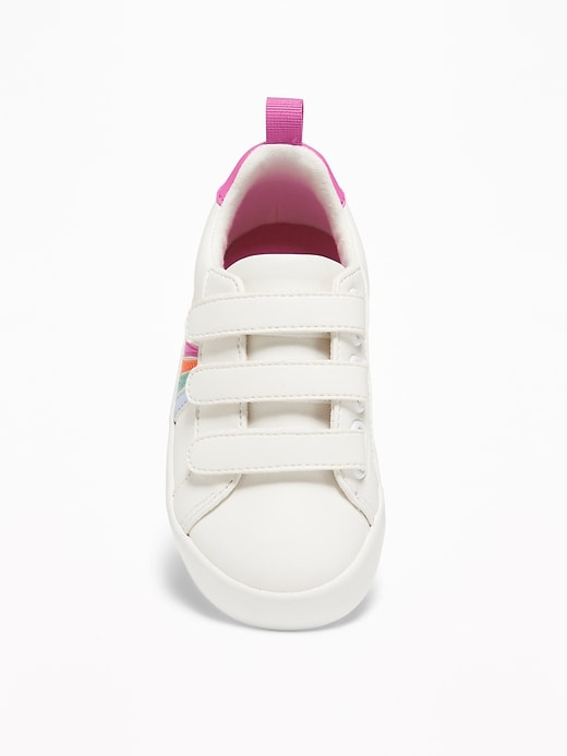 Triple-Strap Rainbow-Stripe Sneakers For Toddler Girls