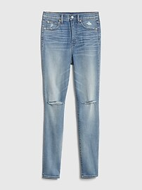 Sky High Distressed True Skinny Jeans with Secret Smoothing Pockets