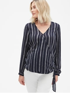 0e66798ab1 Maternity Long Sleeve Wrap Top in Linen