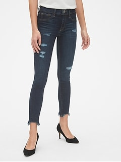 Mid Rise Favorite Ankle Jeggings with Raw Hem be6be51496378