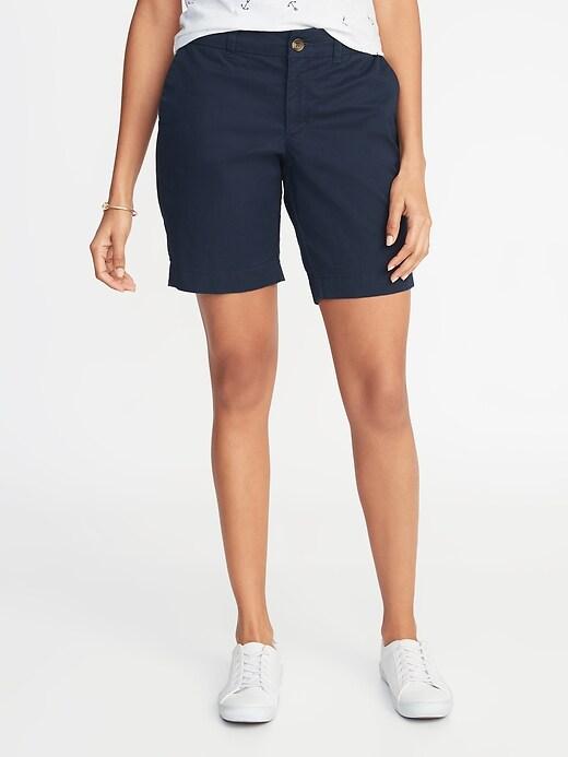 Mid-Rise Twill Everyday Bermuda Shorts for Women - 9-inch inseam