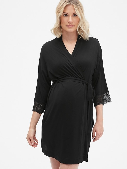 Maternity Lace Trim Robe in Modal