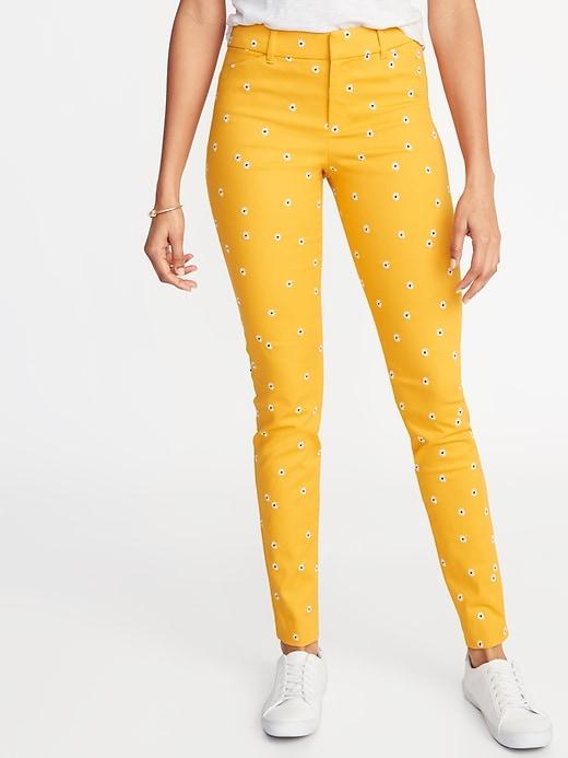 Mid-Rise Daisy-Print Pixie Full-Length Pants for Women