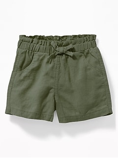 9b5f36052126d Linen-Blend Paperbag-Waist Shorts for Toddler Girls